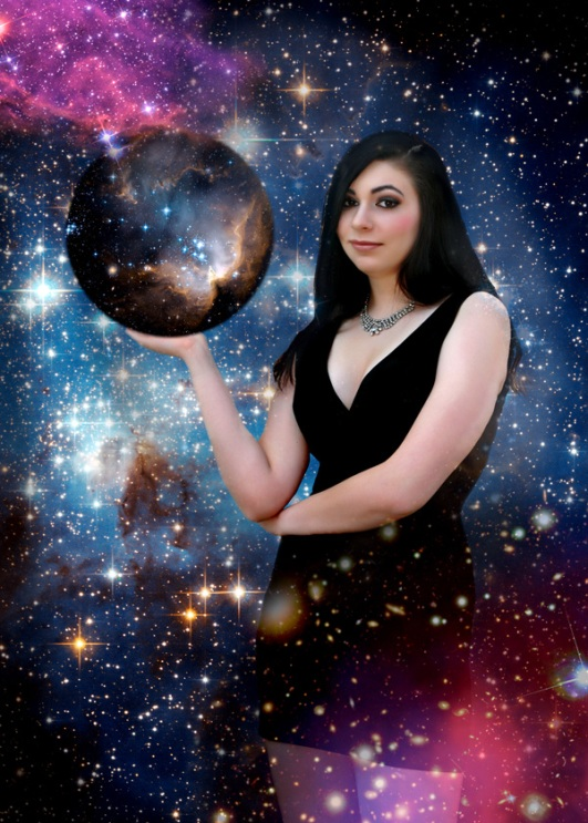 Portrait of girl in space