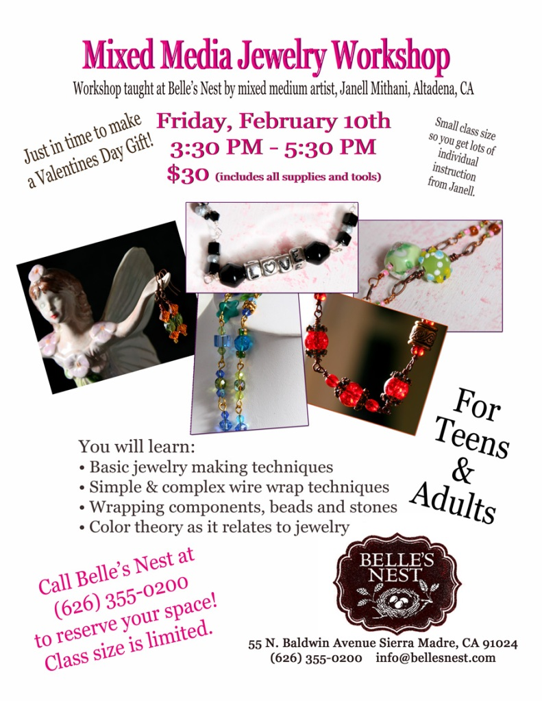 Jewelry workshop this Friday at Belle's Nest