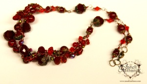 Forever Love necklace - antique copper wire with vintage, glass and crystal beads.