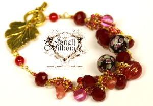 Romance Bracelet - created with wire crochet; vintage, crystal and lampwork beads and gold leaf clasp.