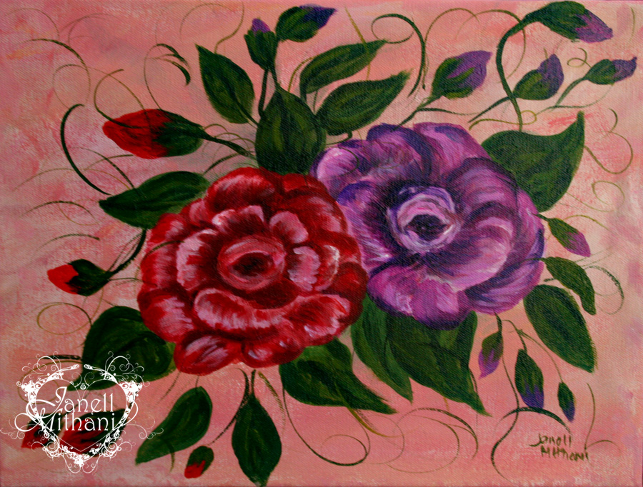 Camelia painting by Janell Mithani