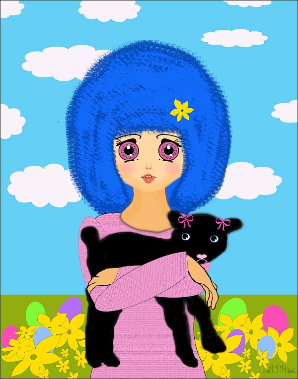 Manga drawing of Easter girl with baby lamb