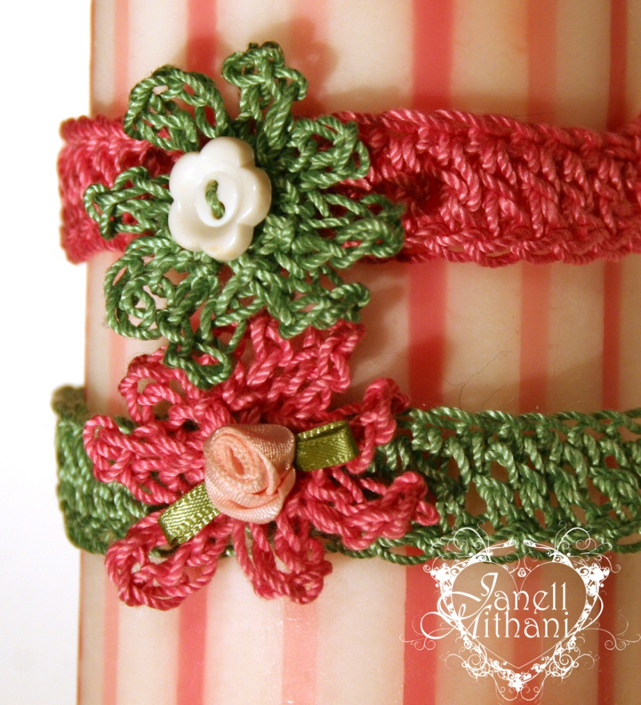 crochet bracelets with crochet flower by  Janell Mithani