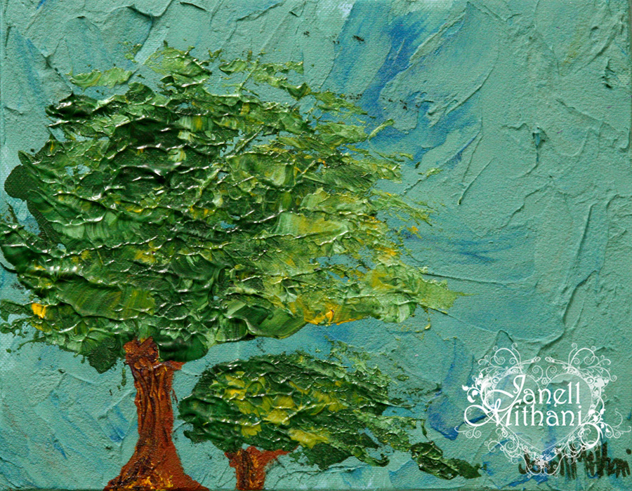 Mother and Daughter in the Wind painting by Janell Mithani