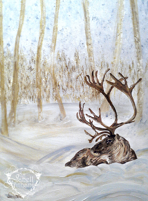 Painting Gentle Reindeer by Janell Mithani