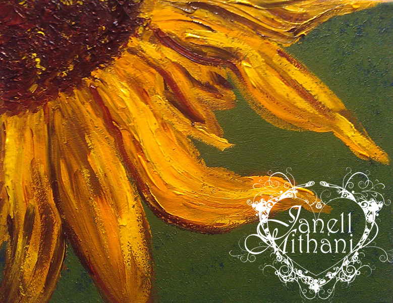 Acrylic painting of sunflower by Janell Mithani