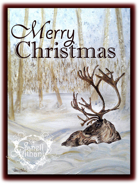 Reindeer Christmas Card by Janell MIthani