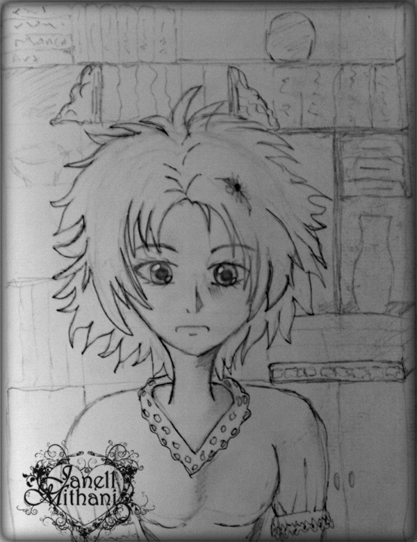 Sketch of book lover Manga