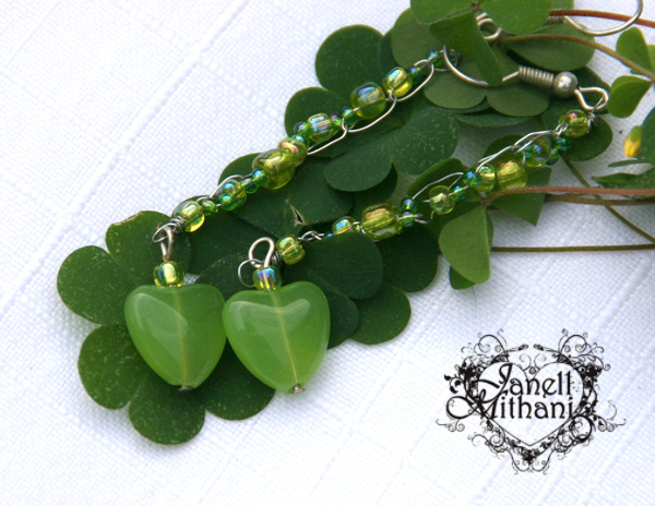 Green heart drop earrings with crocheted wire chain