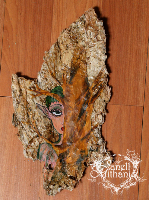Fairy bark painting against wood flooring