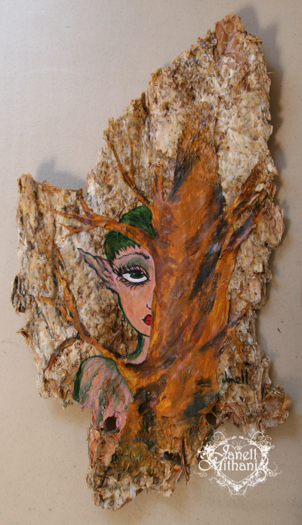 a tree fairy painting on austrailian paper bark