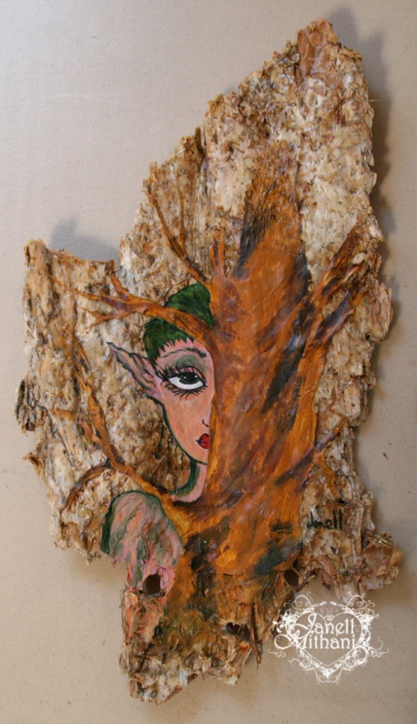 Tree fairy painting on paper bark tree