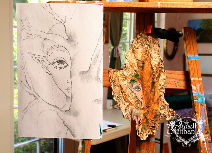 Bark painting and sketch on easel