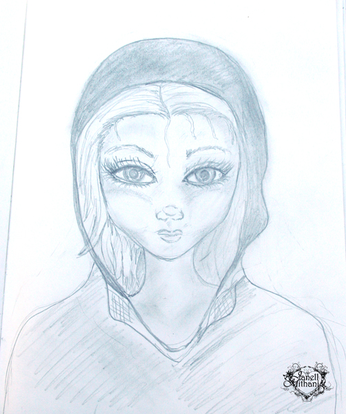 Sketch of woman with a hoodie by Janell Mithani