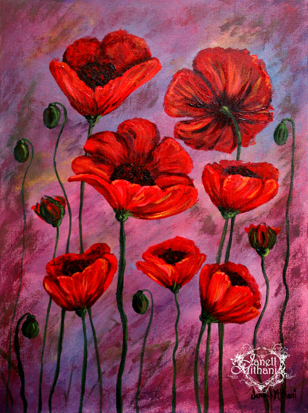 Painting of poppies by Janell Mithani