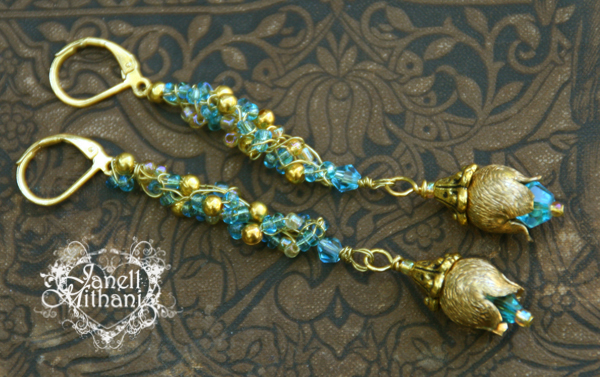 Gold and turquoise crocheted earrings with rose dangle by Janell Mithani