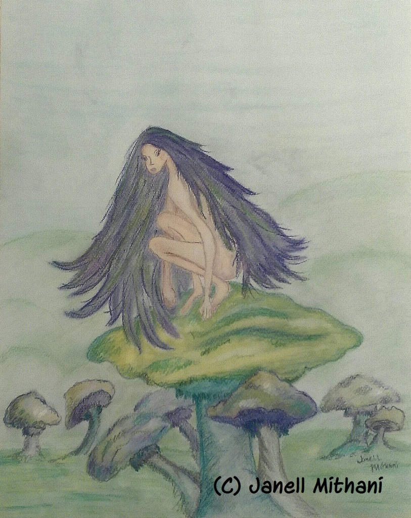 Pastel sketch of fairy on mushroom by Janell Mithani