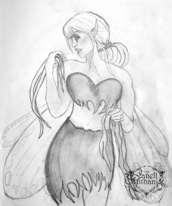 Flirty fairy sketch by janell mithani