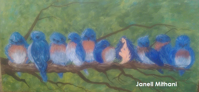 Painting in process of birds and fairy by Janell mithani