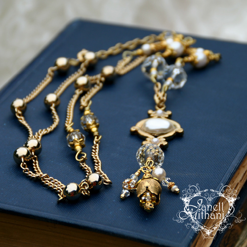 Vintage assemblage gold and pearl necklace by Janell Mithani