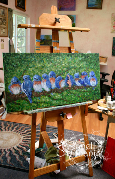 Photo of Painting morning chit chat by Janell Mithani on her easel in studio