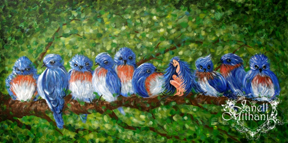 Moring Chit Chat bird and fairy painting by Janell Mithani