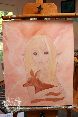Photo pf Fawn painting in process by Janell Mithani
