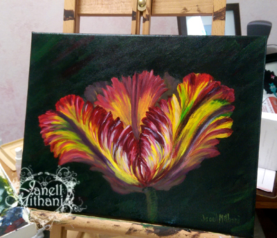 Rainbow Tulip Painting by Janell Mithani