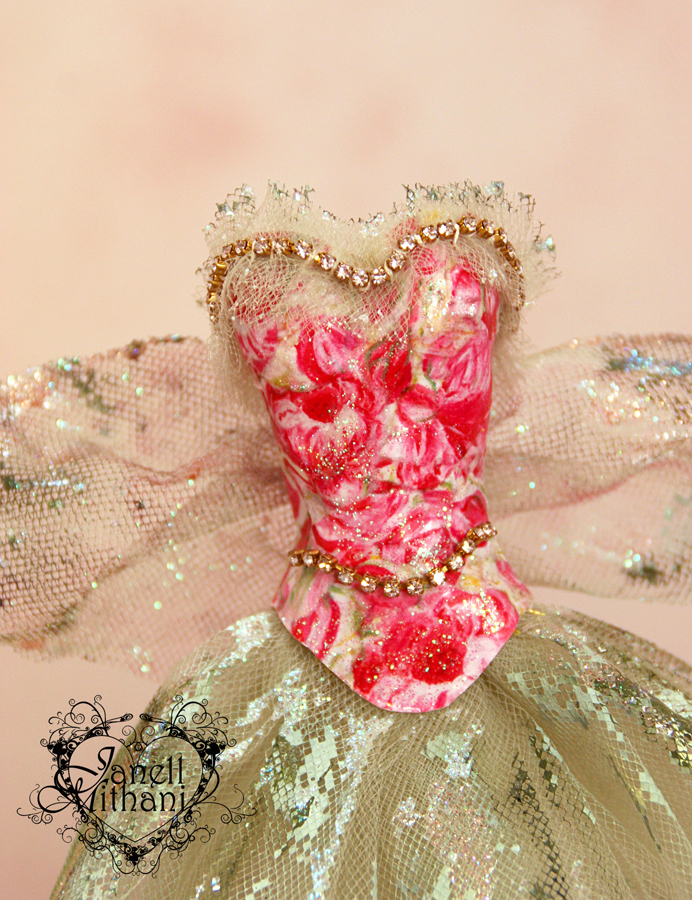 Bodice close up of mini fairy paper dress by Janell Mithani