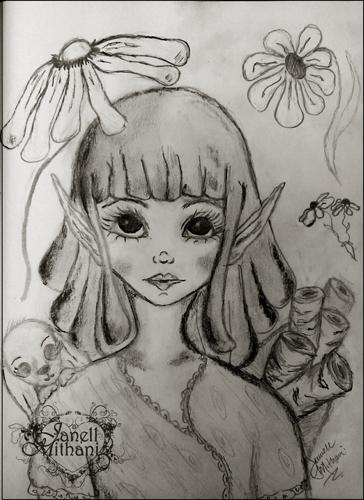Manga Girl Sketch by Janell Mithani