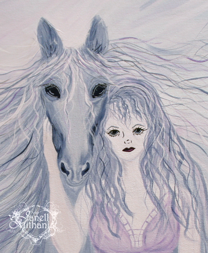 Violet and grey painting detail by Janell Mithani