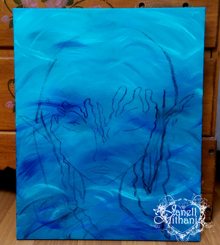 in process painting of mermaid in water by Janell Mithani