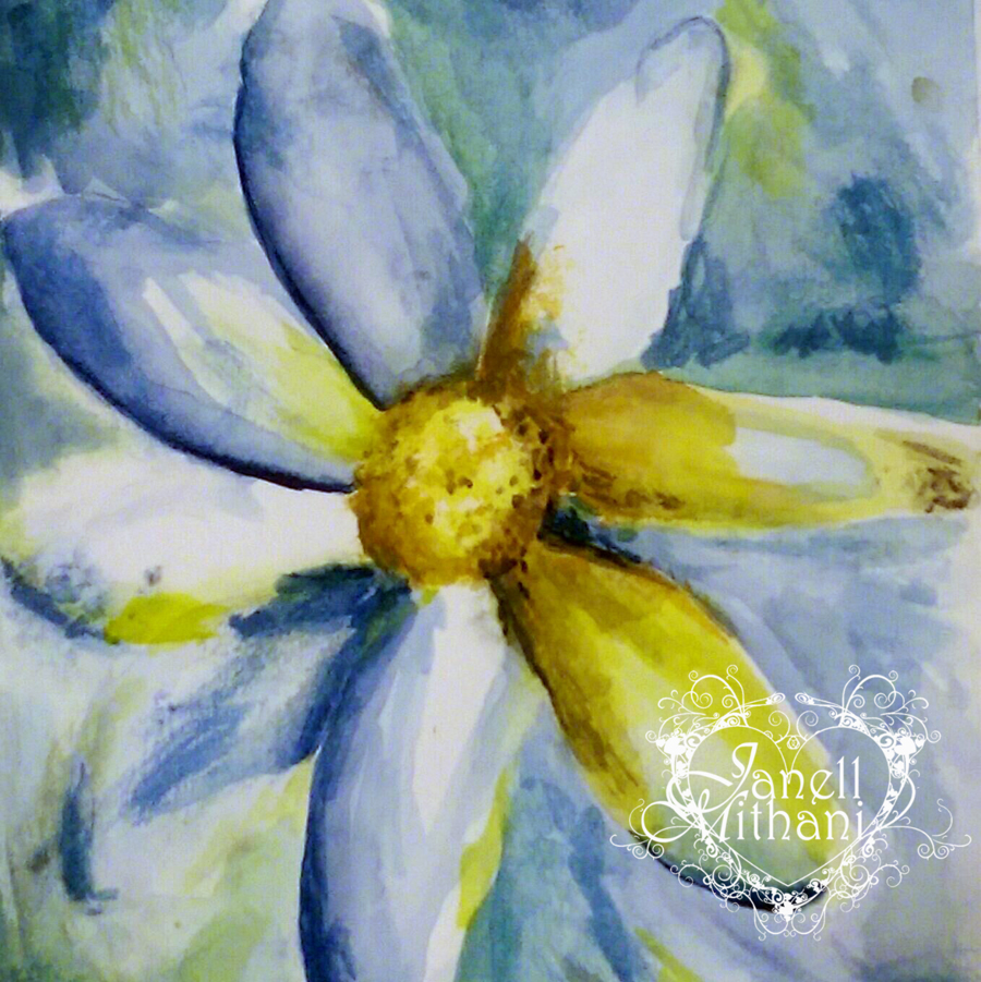 blue and yellow painting of daisy by Janell Mithani