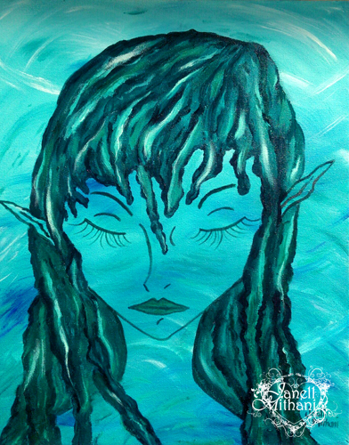 mermaid painting by Janell MIthani