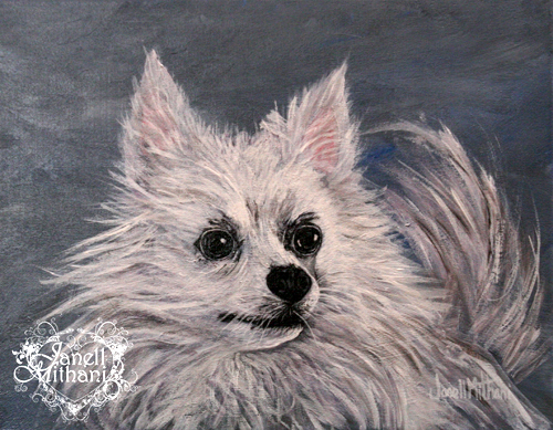 painting of dog Bella by artist Janell Mithani