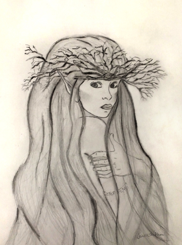 sketch of fairy with branches crown by Janell Mithani