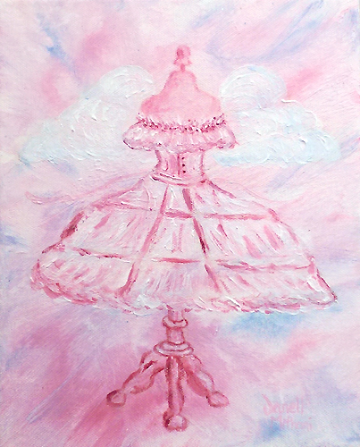 Romantic Vintage Fairy Dress Painting by Janell Mithani