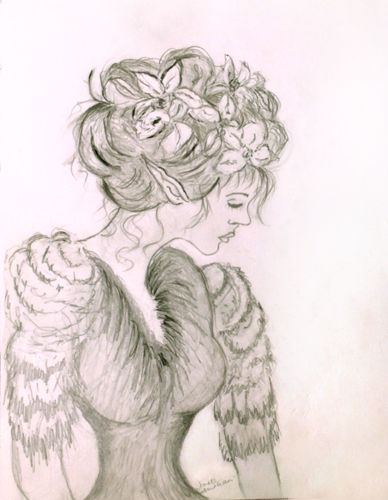 sweet fairy with flowers in her hair by Janell Mithani