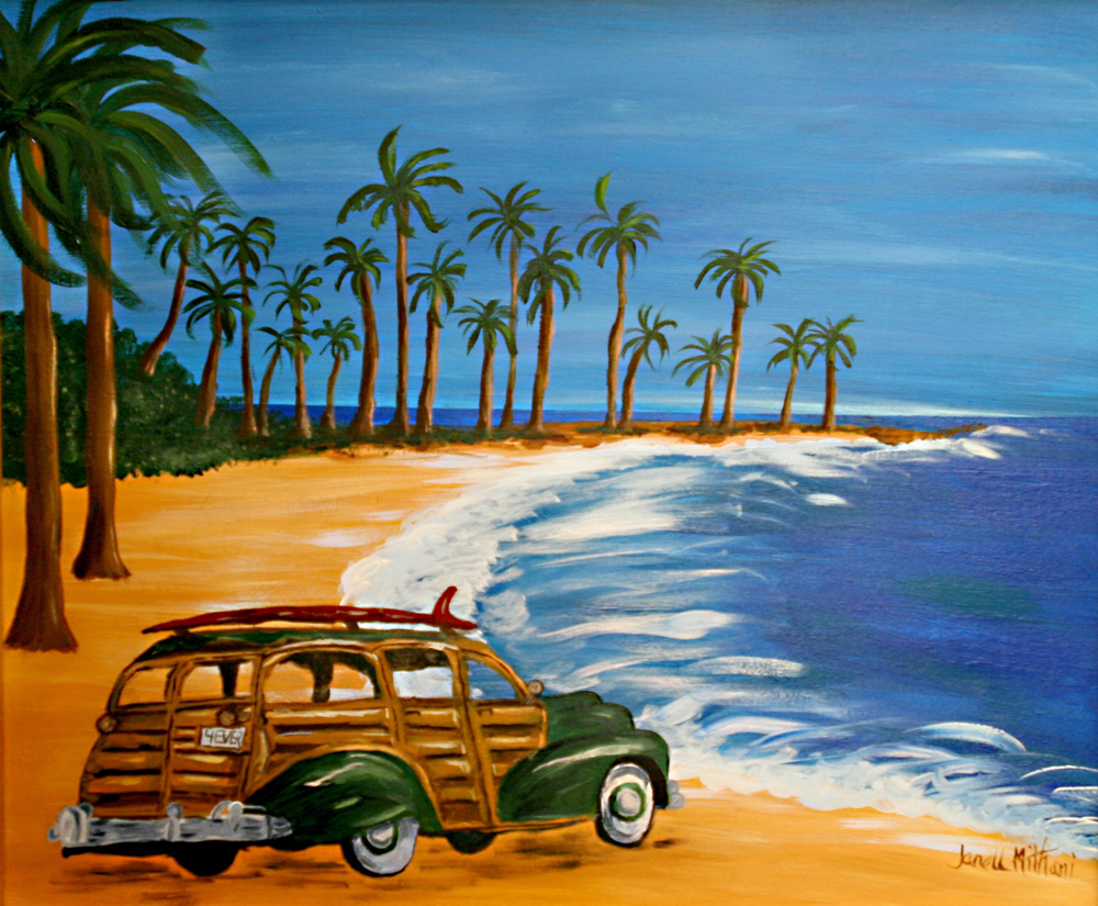 At the beach painting by Janell Mithani