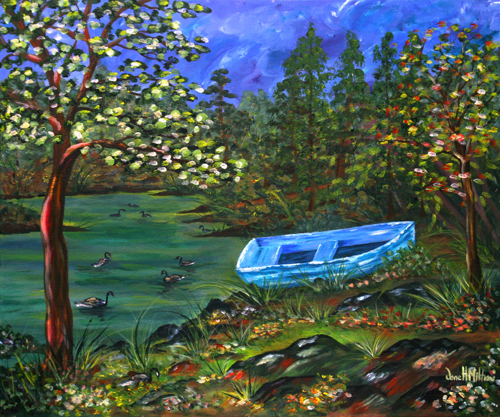 At Waters Edge painting by Janell Mithani