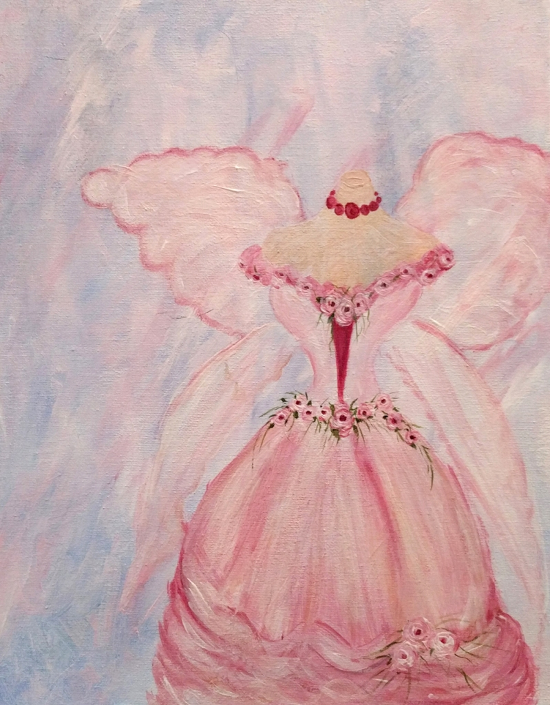 Dress form and flowers painting by Janell Mithani