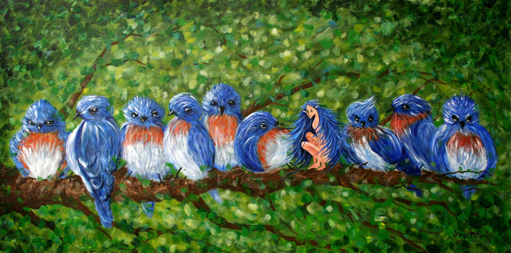 Morning Chat painting by Janell Mithani