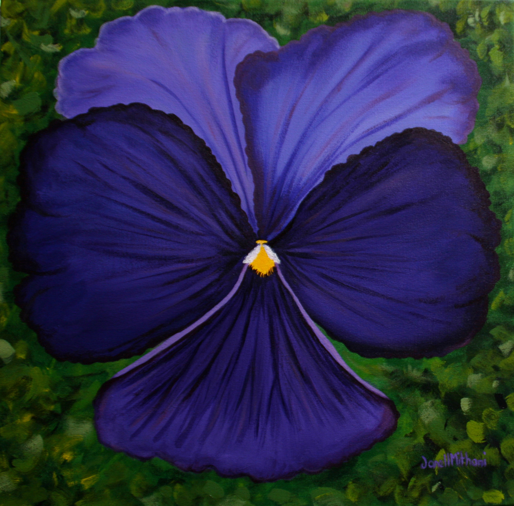 "Pansy, A Little Girls First Love, 20"" x 20"", acrylic on canvas"