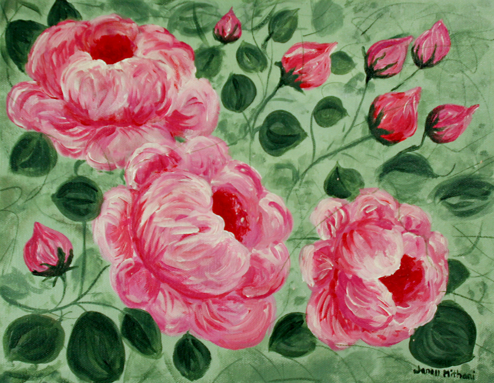 painting of cottage roses by janell mithani