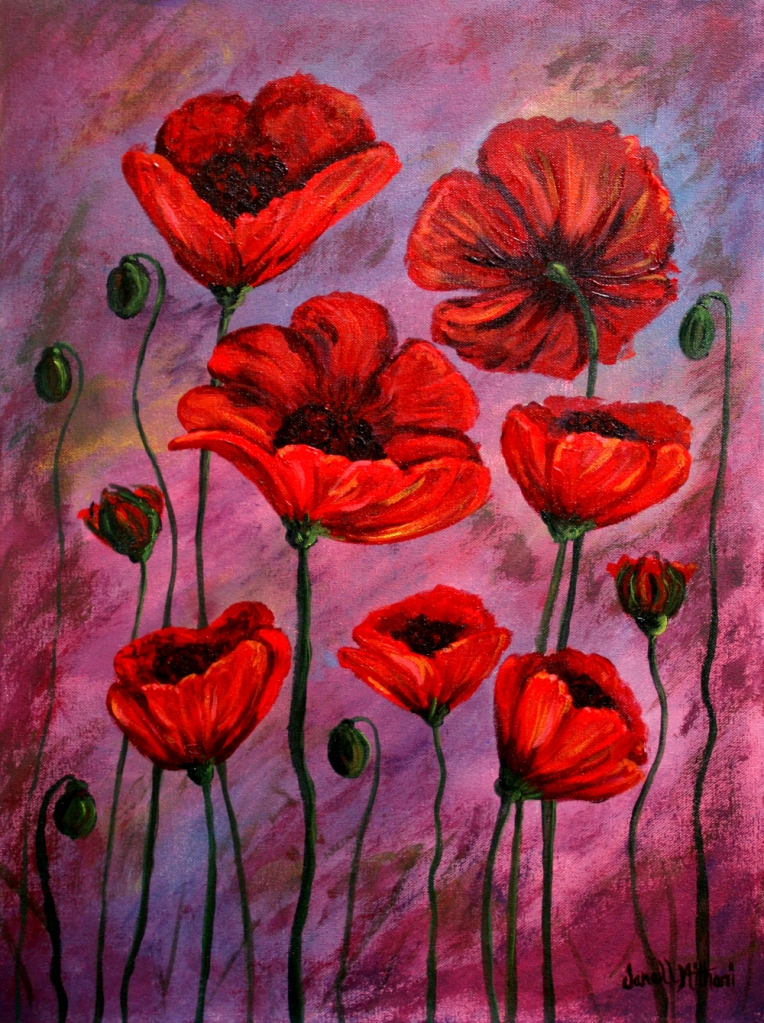 Poppies for Jazz, painting by Janell Mithani