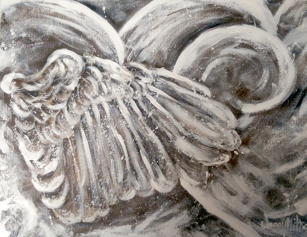 Wings and Heart painting by Janell Mithani