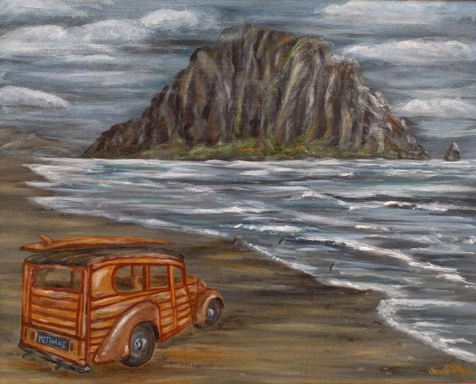 painting of Woody car at Morro bay
