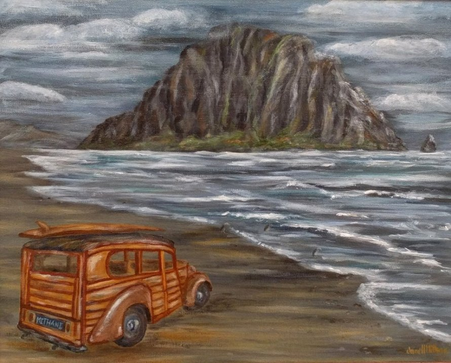 painting of Woody car at Morro bay
