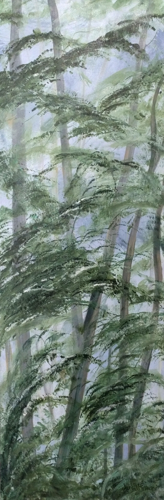 painting of tall trees by Janell Mithani