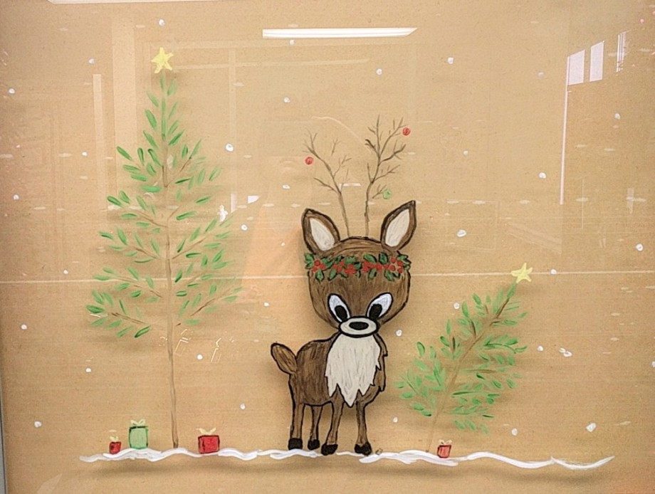 Reindeer window painting by Janell Mithani